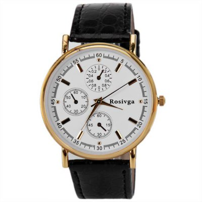 Гаджет   Rosivga Men Watch with Round Dial Leather Watchband (Black) Men