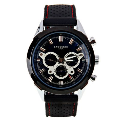 ФОТО LaoGeShi Quartz Mechanical Watch with Double Rectangles Indicate Silicon Watch Band for Men