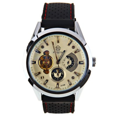 Fuyate Quartz Automatic Mechanical Watch with Trapezoids Indicate Silicon Watch Band for MenMechanical Watches<br>Fuyate Quartz Automatic Mechanical Watch with Trapezoids Indicate Silicon Watch Band for Men<br><br>Brand: Fuyate<br>Watches categories: Male table<br>Watch style: Fashion<br>Available color: Yellow<br>Movement type: Mechanical watch<br>Shape of the dial: Round<br>The bottom of the table: Gone<br>Case material: Metal<br>Case color: Silver<br>Band material: Rubber<br>Clasp type: Pin buckle<br>Band color: Black<br>Special features: Working small two stitches<br>The dial thickness: 1.5 cm<br>The dial diameter: 4.7 cm<br>Product weight: 0.101 kg<br>Package weight: 0.151 kg<br>Product size (L x W x H): 26.2 x 4.7 x 1.5 cm<br>Package size (L x W x H): 27.2 x 5.7 x 2.5 cm<br>Package Contents: 1 x Watch