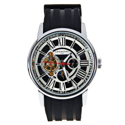 ФОТО LaoGeShi Quartz Mechanical Watch with Roman Numbers Indicate Silicon Watchband for Men