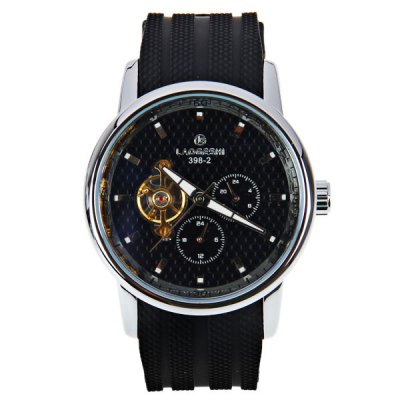 ФОТО LaoGeShi Quartz Mechanical Watch with Rectangles Indicate Silicon Watchband for Men