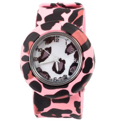 FHL F197 Quartz Pat Watch with 12 Numbers Indicate Rubbler Watch Band for Children - Pink