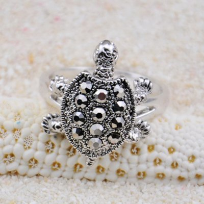 Diamante Turtle Embellished Alloy Ring For Men and Women