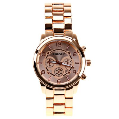Kingsky Quartz Watch with 5 Numbers and Rectangls Indicate Steel Watch Band for Women