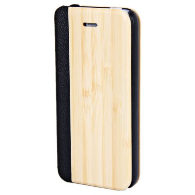 Natural Wood Plastic and PU Leather Case for iPhone 5