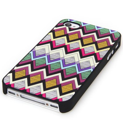 Popular Noctilucent Plastic Back Shell Case with Embossment Folding Line Pattern for iPhone 4 / 4S