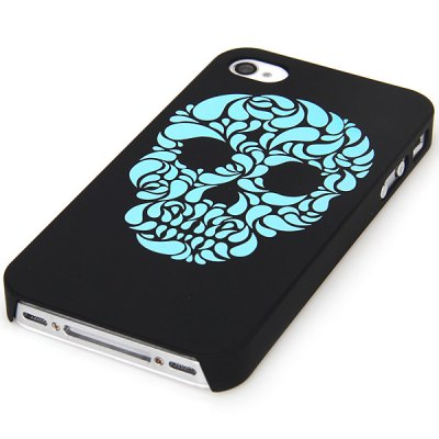 Unique Noctilucent Plastic Back Shell Case with Embossment Blue Skull Pattern for iPhone 4 / 4S