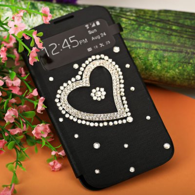 Brand New Heart Pattern PU Leather and Plastic Case with Intelligent View Window and Stylus for Samsung Galaxy S4 i9500 / i9505