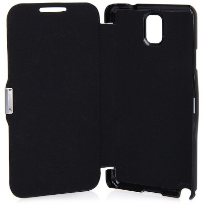 Magnet Flip Style Good Quality Plastic and PU Leather Case for Samsung Galaxy Note 3 N9002 / N9006 / N9005 / N9008 / N9009 - Black