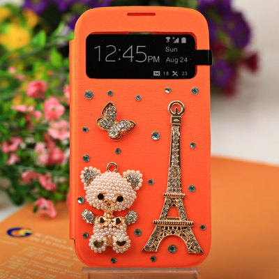 Brand New Bear and Tower Pattern PU Leather and Plastic Case with Intelligent View Window and Stylus for Samsung Galaxy S4 i9500 / i9505