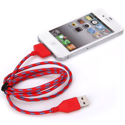 Portable Style 1M Fabric 30 Pin to USB Sync Data Charging Cable for iPhone 4 / 4S