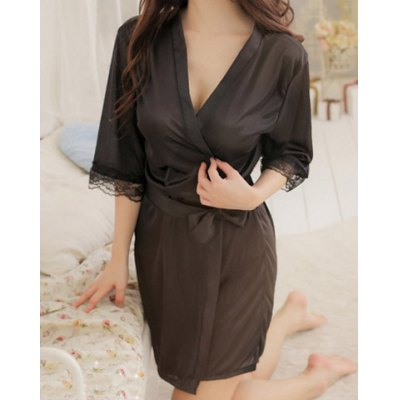 3/4 Sleeves Plunging Neck Lace Stitching Off Breast Strappy Bow Tie Beam Waist See-through Sexy Women's Baby Doll