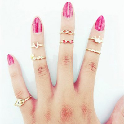 A Suit of Sweet English Letter Crown Rings For Women