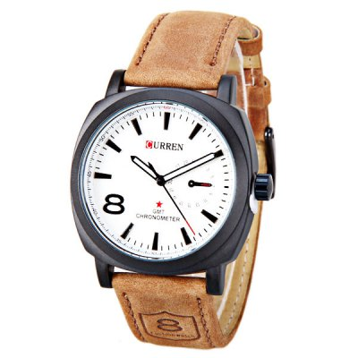 CURREN 8139 Unisex Quartz Watch Time Showed by Number and Trapezoids Leather Watchband