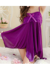Spaghetti Straps Backless Bow Tie Embellished Asymmetrical Hem Lace Splicing Applique Sexy Women's Baby Doll