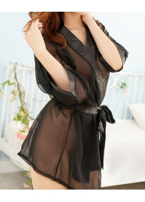 3/4 Sleeves Plunging Neck Off Breast Strappy Bow Tie Beam Waist See-through Sexy Women's Baby Doll