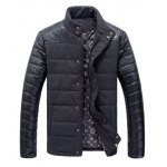 Buy Black Stylish Stand Collar PU Leather Splicing Long Sleeves Woolen Coat Men-46.90 Online Shopping GearBest.com