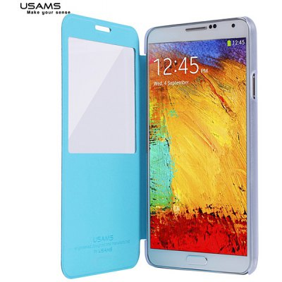 USAMS Plastic + PU Leather Case for Samsung Galaxy Note 3 N9000 / N9005 / N9006 with View Window