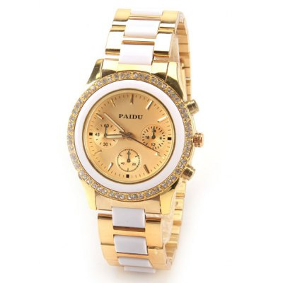 Paidu Quartz Watch with Rectangls and Strips Indicate and Plastic and Steel Watch Band for Women