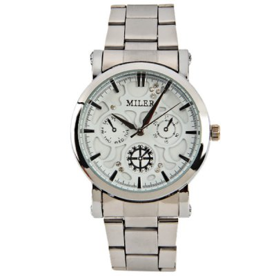 Miler Quartz Watch with Trapezoids Indicate and Steel Watch Band for Women