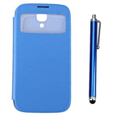 Phone Call View Style PU + PC Case with Stylus Pen for Samsung Galaxy S4 i9500