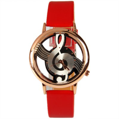 M388 Fashion Style Quartz Watch 12 Mini Dots Indicate with Music Notes Patterned and Leather Band - Red