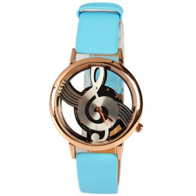 M388 Fashion Style Quartz Watch 12 Mini Dots Indicate with Music Notes Patterned and Leather Band - AzureWatches &amp; Jewelry<br>M388 Fashion Style Quartz Watch 12 Mini Dots Indicate with Music Notes Patterned and Leather Band - Azure<br><br>Watches categories: Female table<br>Available color: Silver<br>Style : Hollow out<br>Movement type: Quartz watch<br>Shape of the dial: Round<br>Display type: Pointer<br>Case material: Metal<br>Case color: Gold<br>Band material: Leather<br>Clasp type: Pin buckle<br>Band color: Blue<br>Special features: Three needles<br>The dial thickness: 0.7 cm<br>The dial diameter: 3.8 cm<br>Product weight: 0.033 kg<br>Package weight: 0.079 kg<br>Product size (L x W x H) : 24 x 3.8 x 0.7 cm<br>Package size (L x W x H): 25 x 4.8 x 1.7 cm<br>Package contents: 1 x Watch