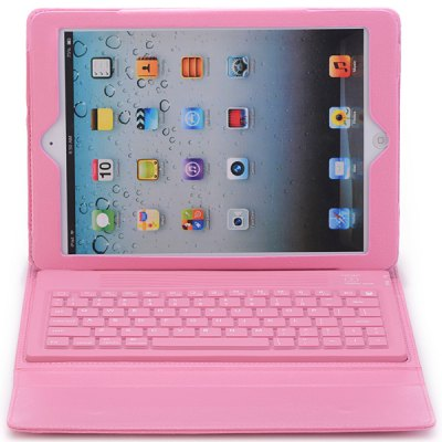 Silicone Bluetooth Keyboard PU Leather Stand Case for iPad Air ( iPad 5 )