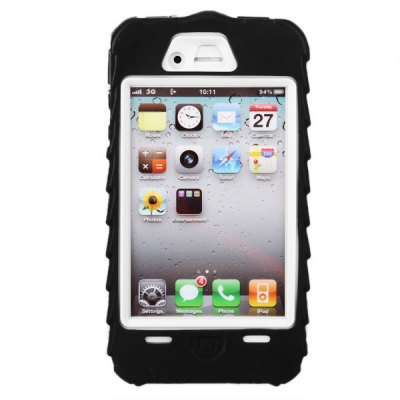 Cool Tire Design Silicone + Plastic Back Case for iPhone 4 / 4S