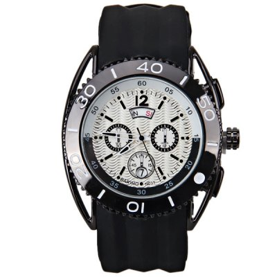 Гаджет   BARIHO Quartz Watch Black Round Dail Colored Frame Watch for Men Rubber Watch Band Men