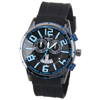 BARIHO Men Watch with Week Display Round Dial Rubber Watch Band