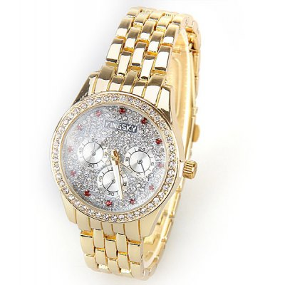Kingsky Quartz Watch with Babysbreath Diamonds Squares Indicate Steel Watch Band for Women