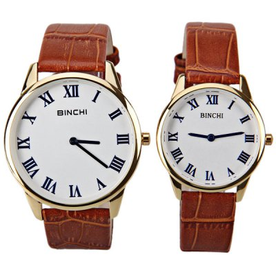 Гаджет   Swiss BINCHI Brand Watches with Two Hands Round Dial and Genuine Leather Band for Couple Watches