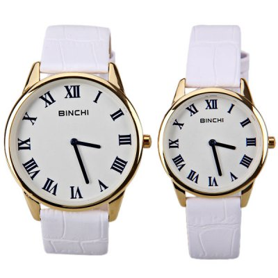 Гаджет   Swiss BINCHI Brand Watches with Two Hands Round Dial and Genuine Leather Band for Couple