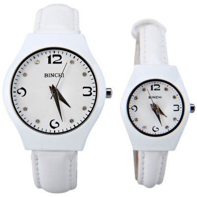 BINCHI Swiss Couple Watch by IP Plating Round Dial and Genunine Leather Band