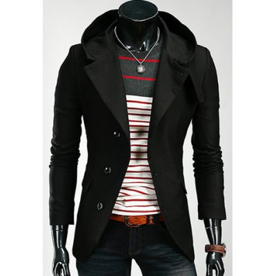 Hooded Solid Color Single-Breasted Long Sleeves Polyester Coat