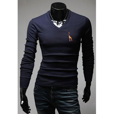Casual Style V-Neck Deer Embroidery Solid Color Long Sleeves Men's Polyester T-Shirt