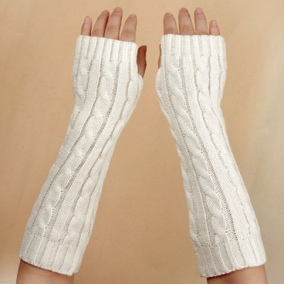 Woolen Knitted Winter Gauntlet Arm Sleeves with Harf Fingers Design