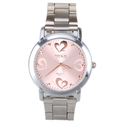 MIKE Loving Heart Pattern Silver Frame Quartz Watch with Steel Band for WomenWomens Watches<br>MIKE Loving Heart Pattern Silver Frame Quartz Watch with Steel Band for Women<br><br>Watches categories: Female table<br>Available color: Pink<br>Style : Stainless steel<br>Movement type: Quartz watch<br>Shape of the dial: Round<br>Display type: Pointer<br>Case material: Metal<br>Case color: Silver<br>Band material: Stainless steel<br>Clasp type: Buckle<br>Band color: Silver<br>Special features: Three needles<br>The dial thickness: 0.8 cm<br>The dial diameter: 5.0 cm<br>Product weight: 0.070 kg<br>Package weight: 0.120 kg<br>Product size (L x W x H) : 24.0 x 5.0 x 0.8 cm<br>Package size (L x W x H): 25.0 x 6.0 x 1.8 cm<br>Package contents: 1 x Watch