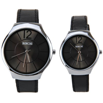 BINCHI Brand Swiss Watches with Round Dial Real Leather Watchband for Couple