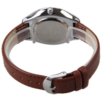 Фотография BINCHI Quartz Watch with Number and Strips Indicate Real Leather Watch Band IP Plating for Men