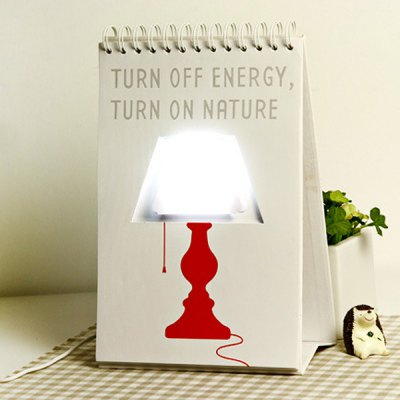 LED Page by Page USB White Light Table Calendar Lamp with DIY Graffiti Pattern