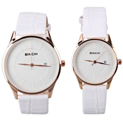 Гаджет   BINCHI Swiss Watches with Strips Indicate Real Leather Watchand IP Plating for Couple Watches