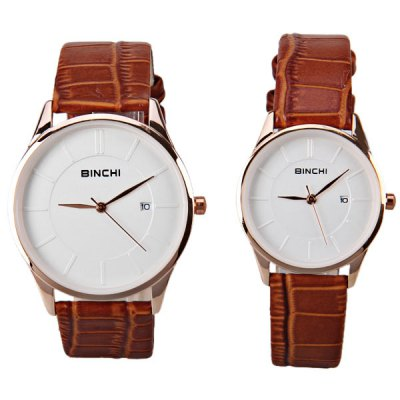 Гаджет   BINCHI Swiss Watches with Strips Indicate Real Leather Watchand IP Plating for Couple