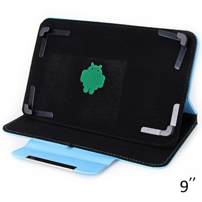 Fashionable Stand Function and 360 Degree Rotatable Button Design Artificial Leather Case for 9 inch Tablet