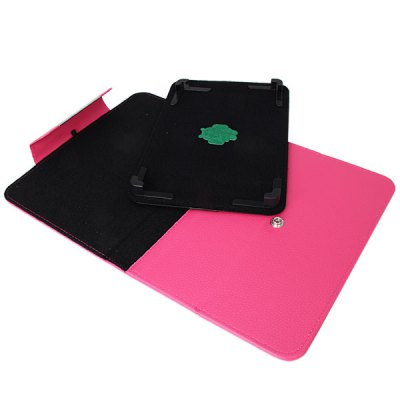 Фотография Fashionable Stand Function and 360 Degree Rotatable Button Design Artificial Leather Case for 9 inch Tablet