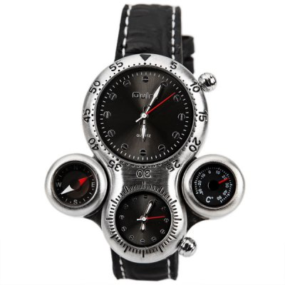 Oulm Multi - function Watch with Double - movtz Compass Thermometer and Leather Band for Men