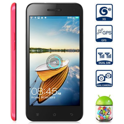 JIAKE JK  -  10 5.0 inch 3G Phablet Android 4.2 MTK6582 Quad Core 1.3GHz 1GB 4GB HD OGS Screen Dual Cameras Gesture Sensing GPS
