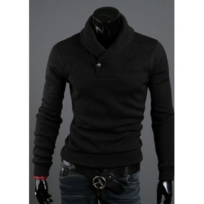 Solid Color Polo Collar Long Sleeves Cotton Blend Sweater