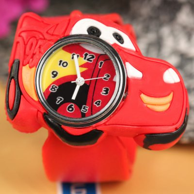 Cool Pat Watch with Cars Shape Dial and Silica Gel Band for Children